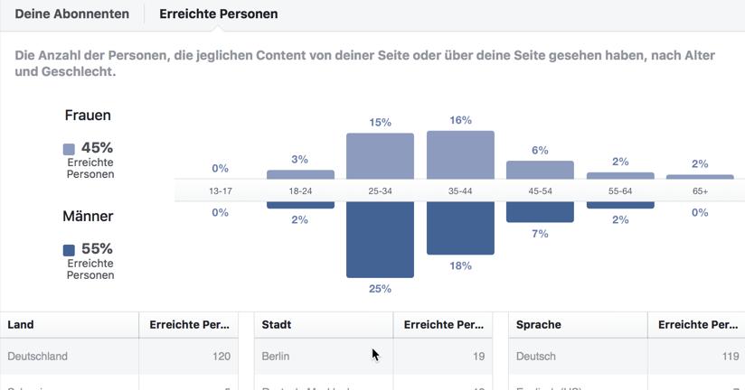 Demographische Verteilung der Besucher einer Fanseite.