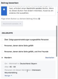 Facebook Auswahl der Zielgruppe für Werbung core audience