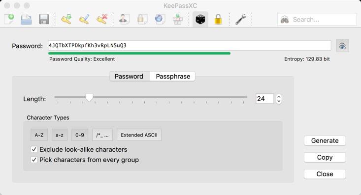 Passwortverwaltung KeyPassXC sicheres Passwort erzeugen