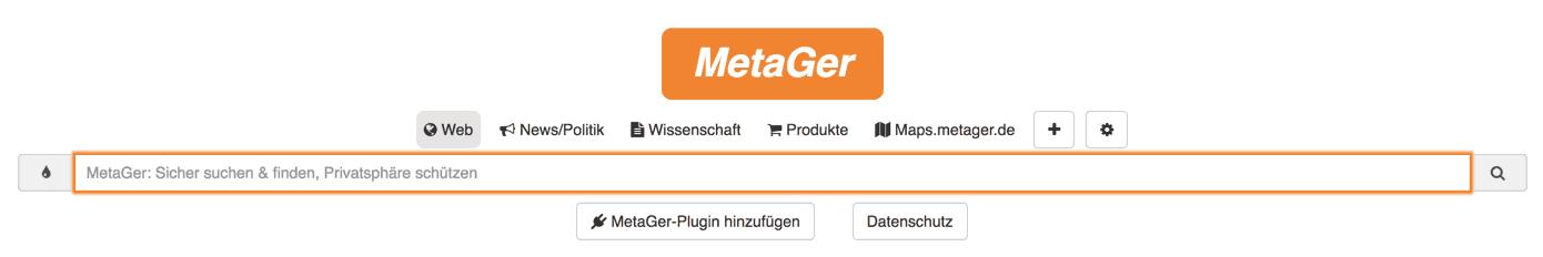 Metager statt Google
