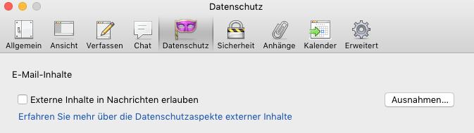 automatisches Nachladen externer Inhalte Mozilla Thunderbird verhindern. Gegen Email Tracking